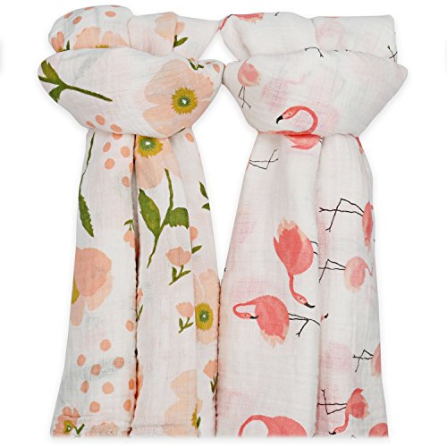 Muslin Swaddle Blankets for Baby,100% Cotton Muslin 47 x 47 inch Baby Blankets Cloth Diapers for Wrapping and Swaddling Infants, Pack of 2 (Flamingo & Orange (Organic Swaddling Blanket)