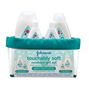 Johnson's Touchably Soft Newborn Baby Gift Set for New Parents, Baby Bath & Skincare Essentials for Sensitive Skin (5 Items)