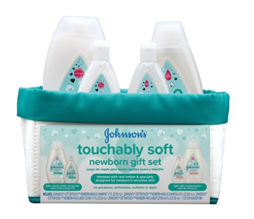 (Johnson's Touchably Soft Newborn Baby Gift Set, Baby Bath & Skincare for Sensitive Skin, 5 items)