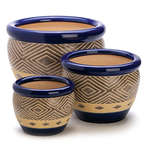 Flower Pot Set-Cobalt Planters 3Pc Ceramic Garden Plant