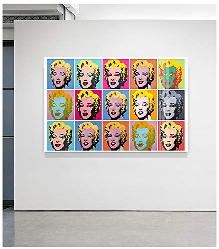 Marilyn Monroe Canvas Paintings Colorful Wall Art Poster Prints Famous Andy Warhol Wall Decor Pictures for Living Room Bedroom Modern Home Decor Wooden Framed 28
