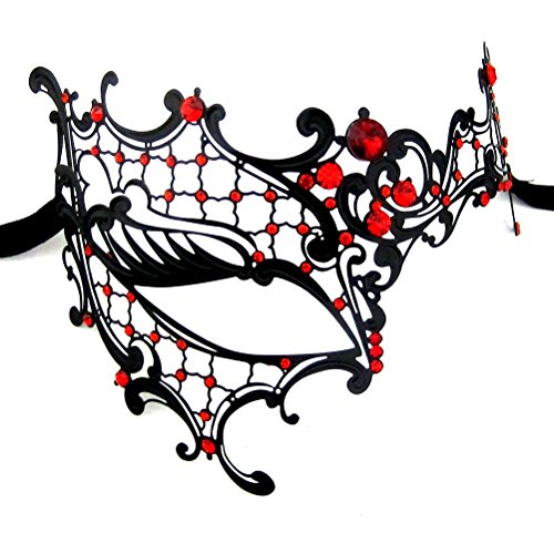 [Xvevina Women's Halloween Black Metal Luxury Half Phantom Masquerade Mask (black metal red stones)] (Venice Carnival Costumes Ideas)