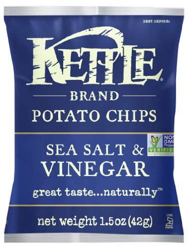 Kettle Brand Potato Chips, Sea Salt and Vinegar, 1.5-Ounce Bags (Pack of 24)