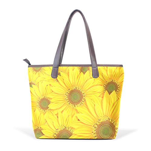 Shoulder BENNIGIRY Tote Handle Leather Women's Bags Sunflowers Patern Handbags Top Bags Large wvqwxBgnW