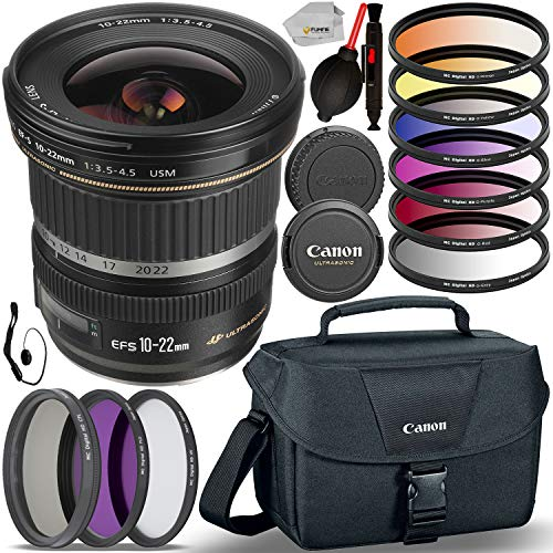 Canon EF-S 10-22mm f/3.5-4.5 USM Lens (9518A002) with Essential Accessory Bundle - Includes 3 Piece Multi-Coated Filter Set, 6 Piece Graduated Color Filter Set, Canon Carrying Case & More (Canon Ef S 10 22mm F 3-5 4-5)