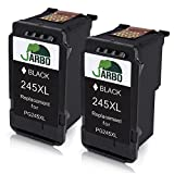 JARBO Remanufactured for Canon PG-245XL Ink Cartridges, 2 Black, Shows Accurate Ink Level, Used in Canon PIXMA MG2520 MG2920 MG2922 MG2924 MG2420 MG2522 MG2525 MG3020 MG2555 MX490 MX492 Printer