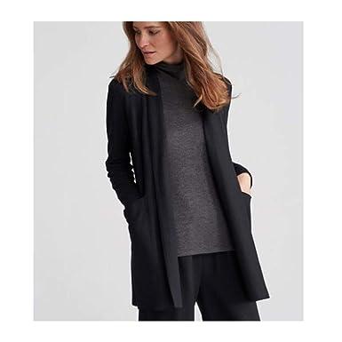 b7f6483bca5 Amazon.com  Eileen Fisher Black Boiled Wool Jersey Shawl Collar ...