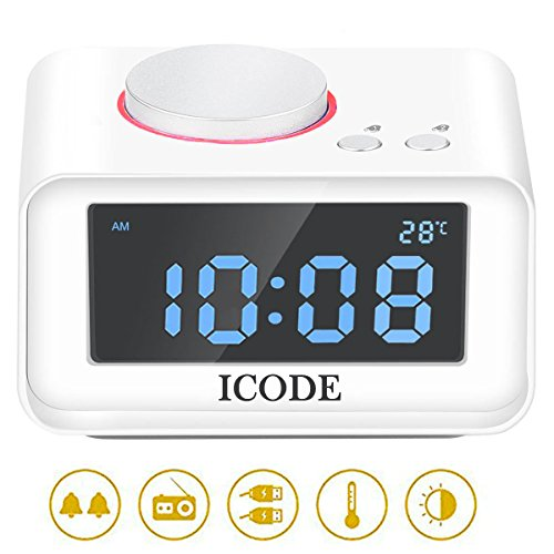 Digital Alarm Clock, ICODE FM Radio Alarm Clock with 4 Dimmer, Dual USB Charge,Indoor Thermometer Fuction, Large LCD (Big Lcd)