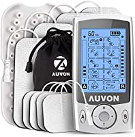 """AUVON Dual Channel TENS Machine for Pain Relief, TENS Unit Muscle Stimulator with 20 Modes, 2"""" and 2""""x4"""" TENS Pads..."""