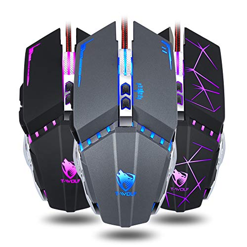 zzpopGG Mouse,V7 Breathing Light Macro Programming Optical 7 Buttons 3200DPI USB Gaming Mouse - 1