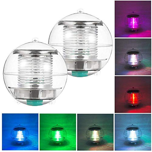 Coquimbo Solar Floating Light Pond Light Waterproof ABS Plastic with Color Changing LED Solar Pool Light Globe Night Light Lamp for Garden Swimming Pool Pond Party Home Decor(2 Pack)