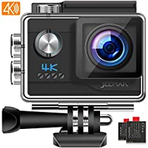 【2019 New Version】 JEEMAK 4K 20MP Sports Action Camera 40M Underwater Waterproof Camera with EIS Adjustable View Angle 2 Batteries Mounting Accessories Kits Compatible with Gopro