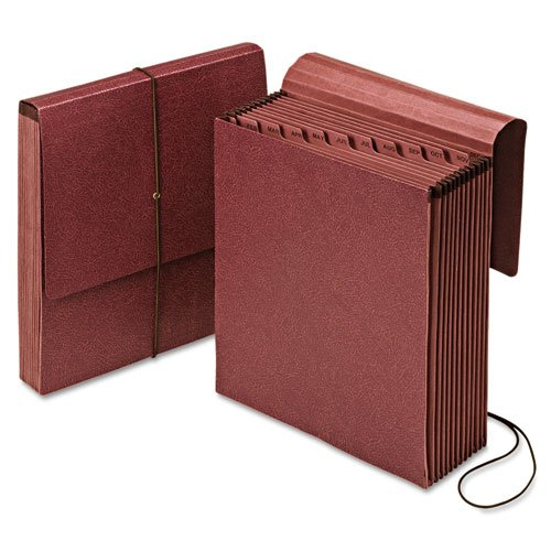 Vertical Wallet Reinforced Expanding - Vertical Indexed Expanding Wallet, Jan-Dec., 12 Pockets, Red Fiber, Letter., Sold as 1 Each