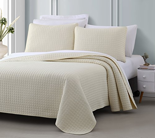 Attitude 3pc Quilted Coverlet Set Ivory King/Cal-King Size (108