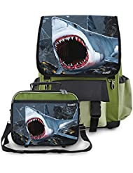 Kidaroo Great White Shark Bite School Backpack & Lunchbox for Boys, Girls, Kids
