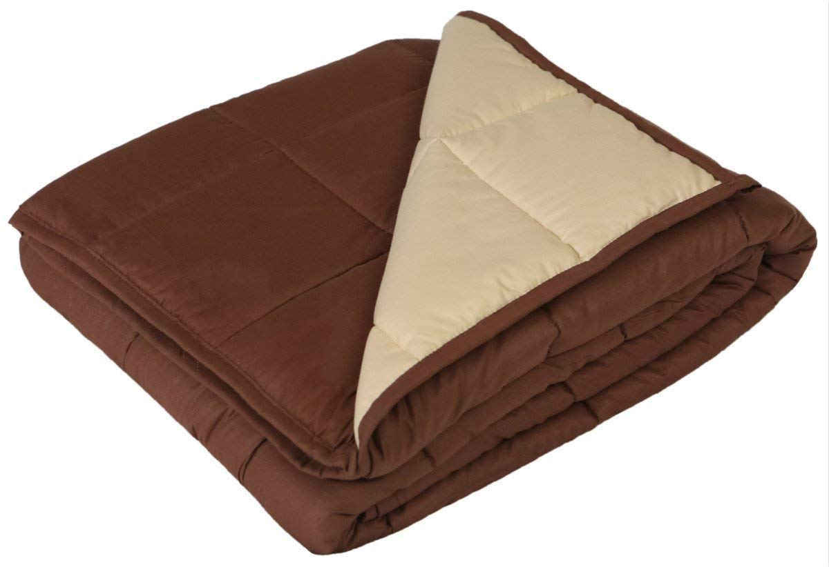 YnM Cool Weighted Blanket Adults, 15lbs 55''x 82'', Gravity Cotton Heavy Blanket, Great Sleep Therapy People Anxiety, Autism, ADHD, Insomnia Stress, Saddlebrown/Burlywood coSaddlebrown15lbs