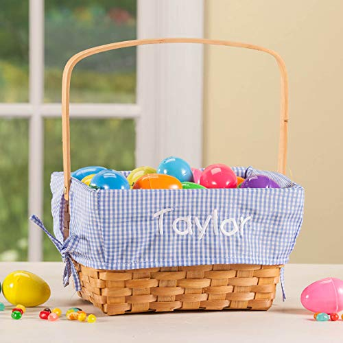 Fox Valley Traders Personalized Blue Gingham Wicker Easter Basket by Fox Valley Traders (Image #1)