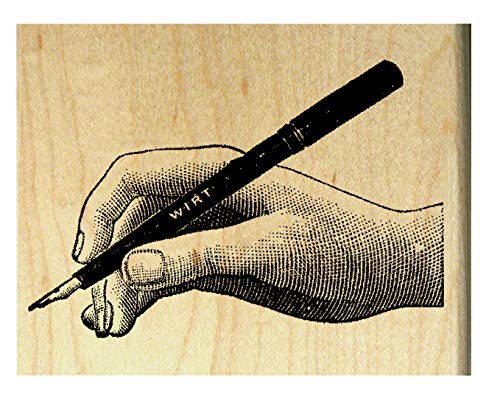 P27 Hand writing with nib pen, quill - Rubber stamp ()