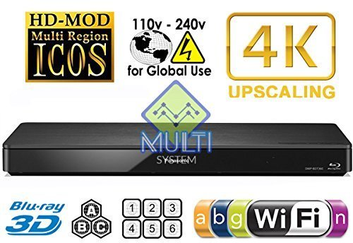 (PANASONIC 360 2K/4K Smart Network Multi System Blu Ray Disc DVD Player 100~240V 50/60Hz for World-Wide Use - 6 Feet HDMI Cable is)