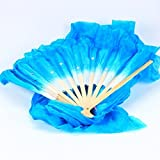 WHATWEARS 1.8m Colorful Belly Dancing Silk Bamboo Veils Dance Long Fans by Whatwears