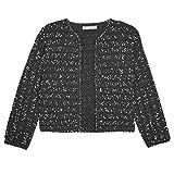 Lela Rose Womens Cropped Knit Jacket Black/Ivory Extra Small