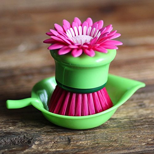 Buwico® Fashion 3 Colors Cute Cleaning Brush Sun Flower Shape Pan Pot Brush Multi Bathroom Brush Cleaning Tool (Purple) by Buwico