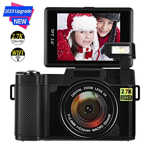 Digital Camera Vlogging Camera 24MP Ultra HD 2.7K WiFi YouTube Camera 3.0 Inch 180 Degree Rotation Flip Screen Camera Retractrable Flashlight (D1)