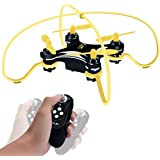 Portable Mini RC Quadcopter Drones, Honor-Y 3D Flips Altitude Hold Function Drone and One-hand Remote Control with Gravity Sensor for Beginners Kids Boys Girls Indoor or Outdoor ( Yellow )