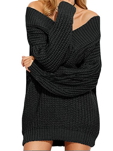 Simplee Women's Winter Sexy Off Shoulder V Neck Batwing Sleeve Pullover Sweater,Black,US ()