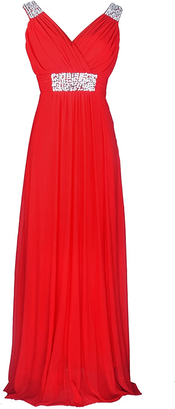 Conail Coco Women Ruched Waist Rhinestone Casual Tulle Semi-Formal Long Wedding Bridesmaid Dress