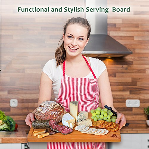 EXTRA LARGE Organic Bamboo Cutting Board with Juice Groove - Best Kitchen Chopping Board for Meat (Butcher Block) Cheese and Vegetables   Anti Microbial Heavy Duty Serving Tray w/ Handles - 18 x 12 by Royal Craft Wood (Image #5)