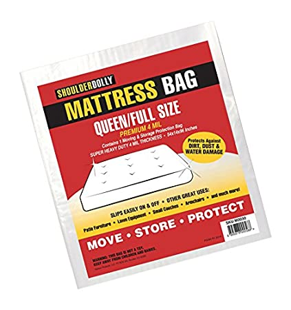 Mattress Bag (Queen, 4Mil) from Shoulder Dolly - Heavy Duty Mattress Bags for