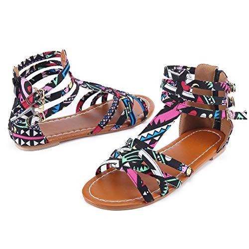 Orangeskycn Summer Boho Women Sandals Bohemian National Sandals Large Size Retro Roman Peep Toe Hollow Contrast Sandals Black by Orangeskycn Women Sandals (Image #4)