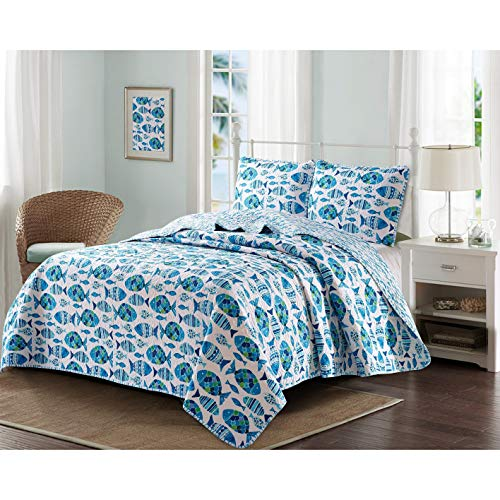 (MISC 3 Piece Blue White Fish Pattern Quilt King Set Teal Grey Beach Theme Bedding Tropical Themed Ocean Seashell Starfish Coastal Nautical Vacation Resort Water Sand, Microfiber Polyester)