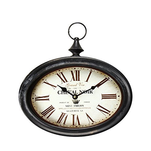 DecentHome Oval Antique Vintage Circle Wall Hanging Quartz - Vintage Antique Hanging Clock