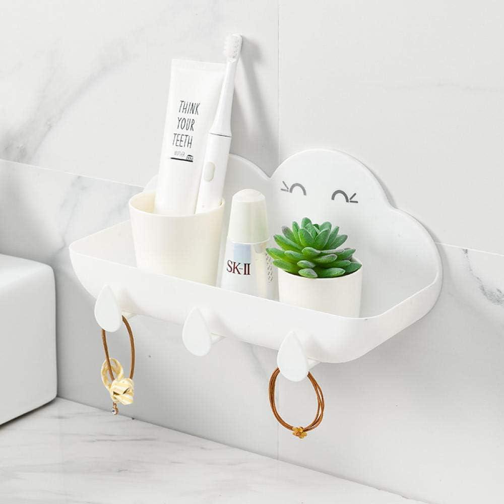 IUYJVR Shelf Wall Mounted Bathroom Shelves Self Shower - Creative Bathroom Free Perforated Wall Hanging Rack-White