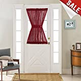 French Door Panel Curtains 40 inch Linen Look Textured Window Treatment for Sliding Door Including a Bonus Adjustable Tie-back Burgundy 1 Panel