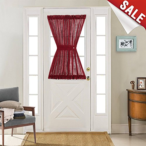 Linen Textured French Door Panel Curtains Open Weave Sheer French Door Panels 40 inches Long 1 Panel, Burgundy, 1 Tieback - Burgundy Kitchen