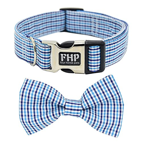 Fourhorse Cute Soft Dog and Cat Collar with Bowtie, Detachable Adjustable Bow Tie Collar Pet Gift (S, Blue Grid)