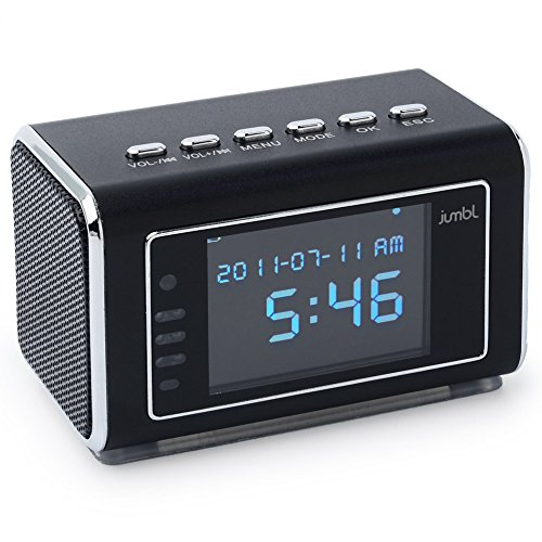 Jumbl Mini Hidden Surveillance Spy Nanny Camera Radio Clock with Motion Detection and Infrared Night Vision - Built-In Screen, Speaker, Micro SD Slot and AUX Line In - Black