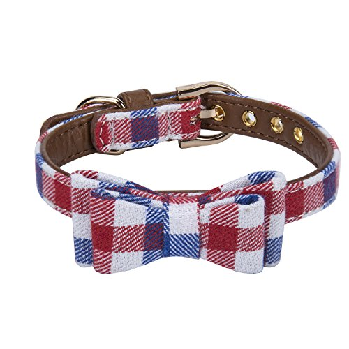 StrawberryEC Puppy Collars for Small Dogs Adjustable Puppy Id Buckle Collar Leather. Cute Plaid Bowtie Blue Dog Collar (Bow-Blue-Grid) ()
