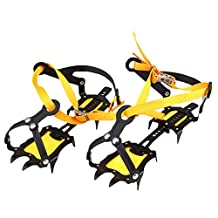 YOGOGO Crampons Non-slip Shoes Cover 1 Pair 10 Teeth Claws Easy Installation Storage Bag with Free Size Traction Cleats for Ice and Snow Mountain Climbing Trekking