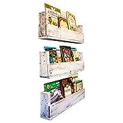 Drakestone Designs Nursery Bookshelves 28 Inch (Set of 3)   Wall Mount   Handmade Rustic Reclaimed Wood - Whitewash