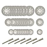 #6: 30 Pcs Diamond Cutting Wheel (25mm/20mm/16mm Each 10), Diamond Coated Cutting Wheel and 6pcs 3mm Mandrel For Dremel Rotary Tool