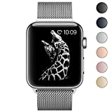 BRG for Apple Watch Band, Stainless Steel Mesh Milanese Loop with Adjustable Magnetic Closure Replacement Metal iWatch Band for Apple Watch Series 3 2 1, 42mm Silver