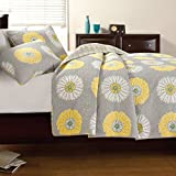 Large Scale Sunflower Bedspreads 3pc Quilt Set Full/Queen, Gray/Yellow Floral Patchwork by Cozy Line Home Fashions