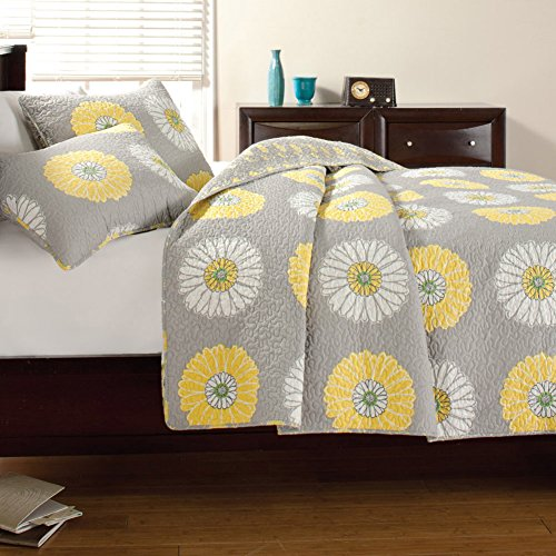 Large Scale Sunflower Bedspreads 2pc Quilt Set Twin, Gray/Yellow Floral Patchwork by Cozy Line Home Fashions
