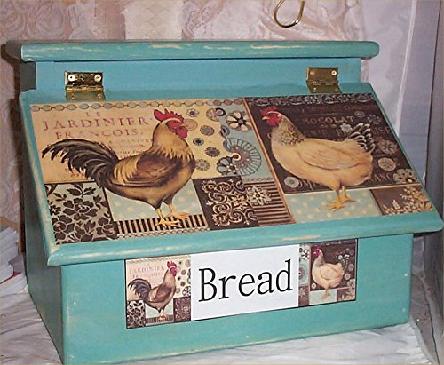 Bread Box Rooster Aqua Blue Destressed Handcrafted Solid Pine made in USA ()