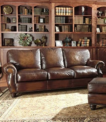 Avellino 100% Full Aniline Italian Leather Sofa (Artisano Highlight Cognac)