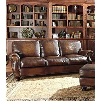 Avellino 100% Full Aniline Italian Leather Sofa (Artisano Highlight Cognac)